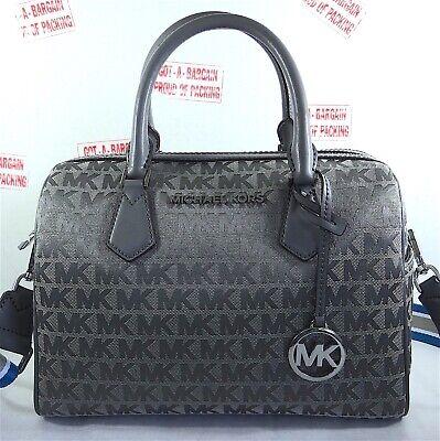 Michael Kors Bedford  MK Signature JACQUARD  Large Satchel Duffle Bag in Grey