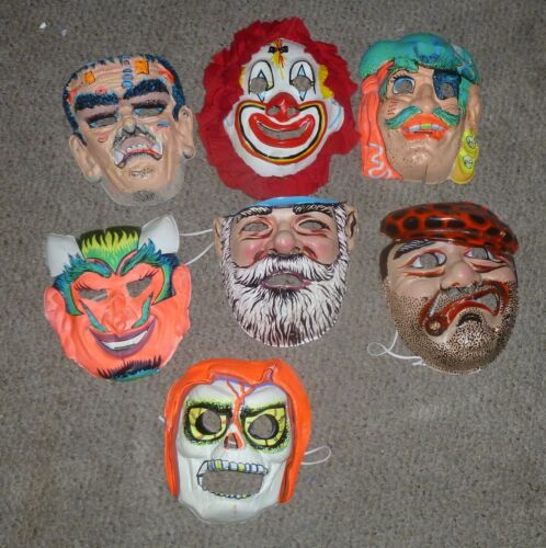Vintage 1970s Plastic Halloween Masks Lot of 7