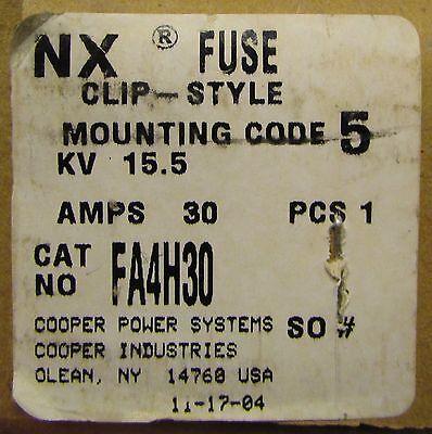 Cooper Fa4h30 15.5kv 30 Amp Clip Style Nx Fuse 15 Kv Max