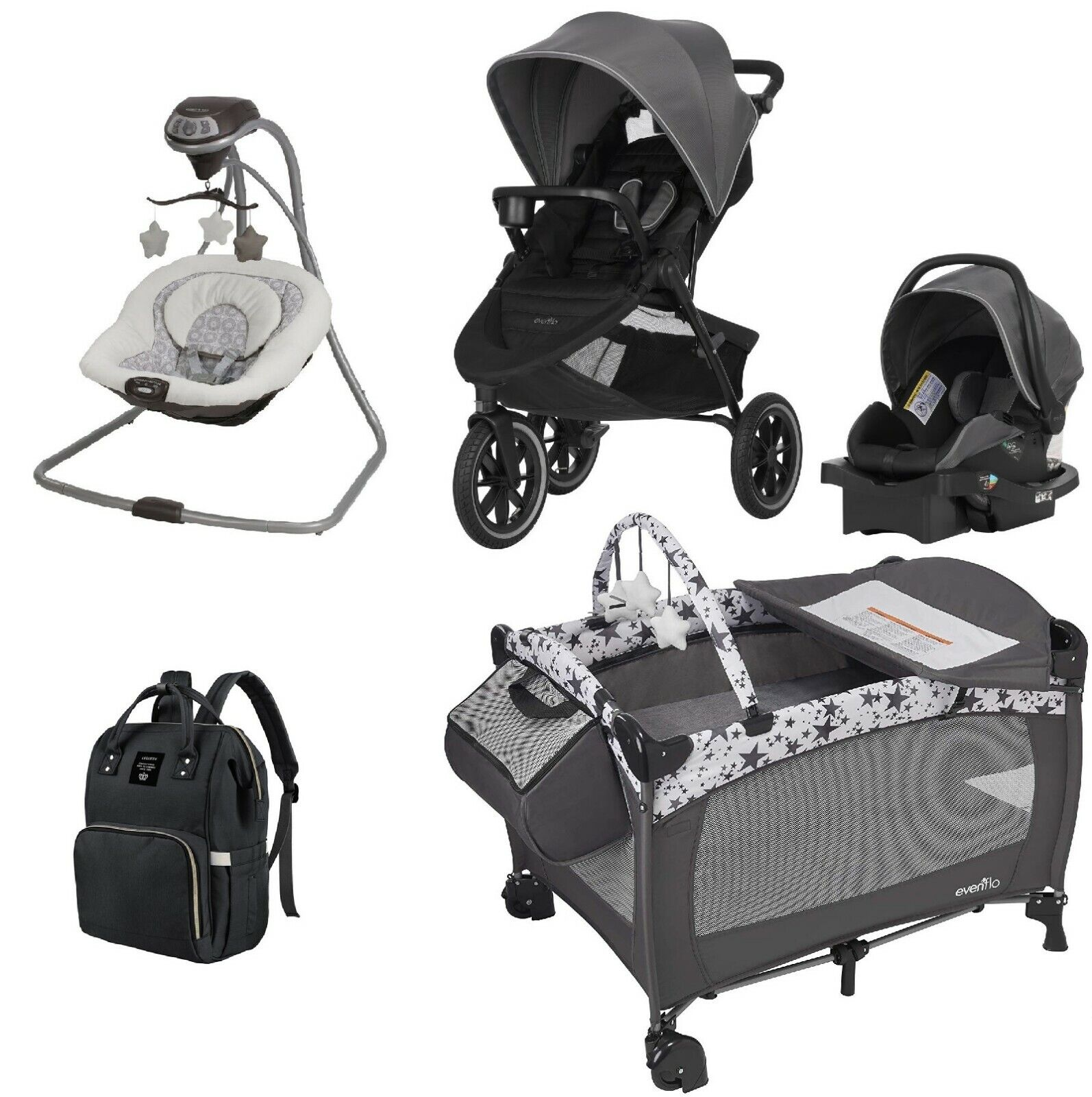 Evenflo Toddler Combo Set Jogger Stroller Car Seat Baby Swin