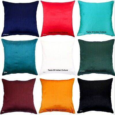 Solid Dupioni Silk Home Sofa X-Mas Decor Pillow Cushion Cover 12 16 18 20 24 -