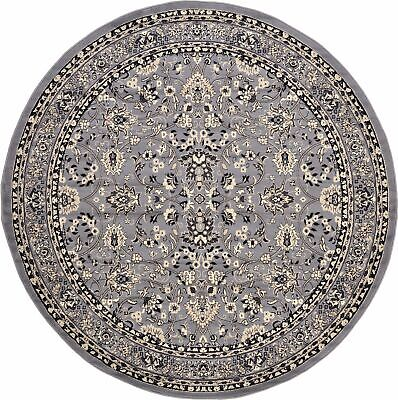 Floral Gray 8ft Round Area Rug Floor Carpet Traditional Deco