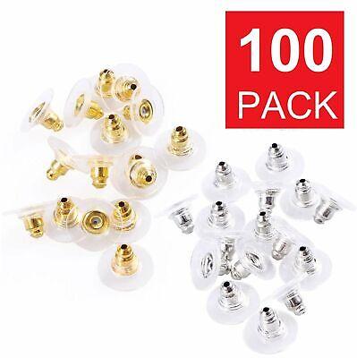100PC Earring Backs Post Backings Stopper Silver Golden Stud Secure Hook Earring Beads & Jewelry Making