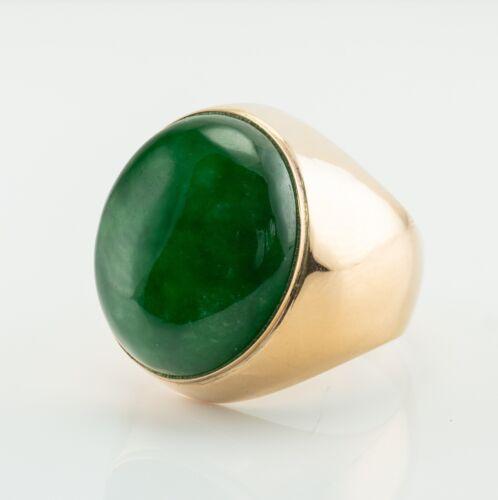 Natural Green Jade Mens Ring 14K Gold