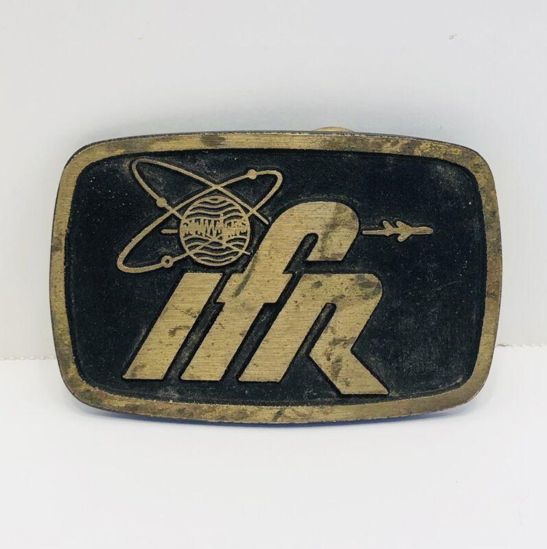 Vintage IFR AVIATION Brass Belt Buckle by DYNABUCKLE.