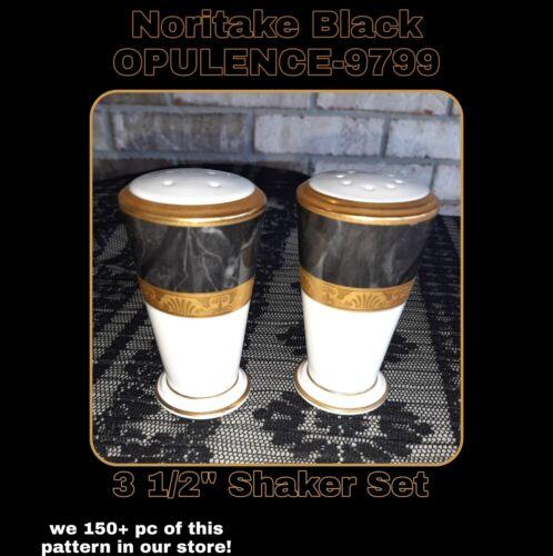 Noritake Opulence 9799 MINT CHINA Salt Pepper Shaker SET 3 3/8 H Gold Black - $54.00