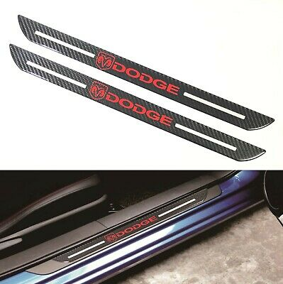 2Pcs Dodge Carbon Fiber Car Door Welcome Plate Sill Scuff Cover Decal (Dodge Grand Caravan Sport Door)