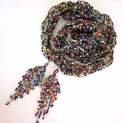 HUICHOL Beaded Necklace Earrings Mexican Folk Art Bohemian Ethnic Jewelry Set