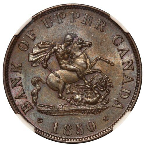 1850 Canada Bank of Upper Canada 1/2 Half Penny Token PC-5A - NGC MS 64 BN