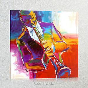 jazz-QUADRO-MODERNO-STAMPA-TELA-ARREDAMENTO-CASA-UFFICIO-TROMBA-ASTRATTO-QUADRI