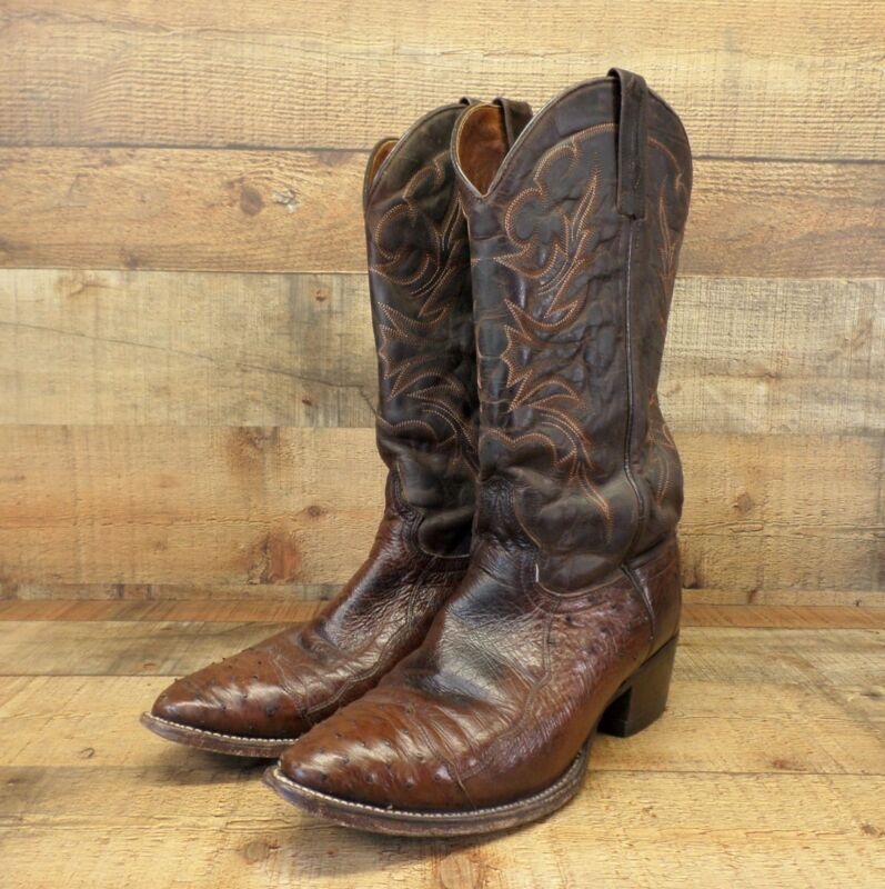 JB, Dillon, Ostrich, Skin, Cowboy, Boots, Leather, Half, Quill, Smooth, Western, Brown, 10
