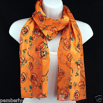Happy Halloween Womens Scarf Pumpkin Candy Corn Gift Scarfs Orange Scarves - Happy Halloween Candy