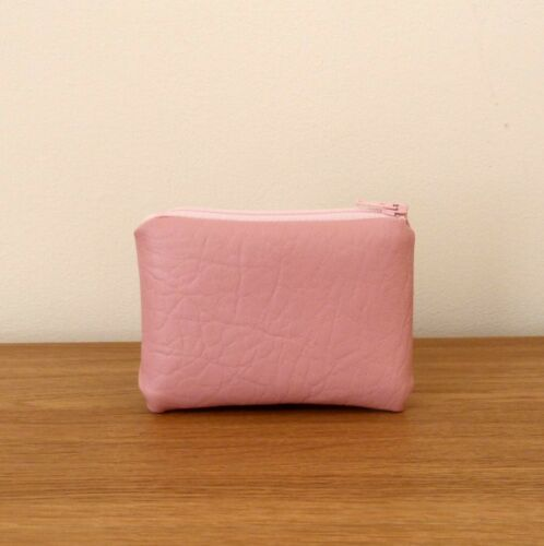 Coin+Purse+Pink+Faux+Leather+Handmade+Fabric+Very+Small+Pouch+Soft+Mini+