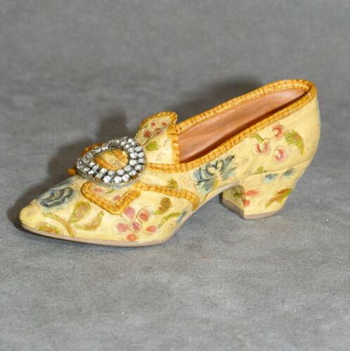 """Miniature Ceramic JUST the RIGHT SHOE Floral Rhinestone Buckle AFTERNOON TEA 4"""""""