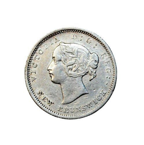 1864 Key Date New Brunswick small 6 Canada Silver 5 Cents Five KM#7 British Coin