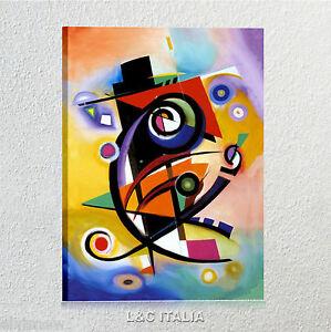 Omaggio-a-Kandinsky-Gockel-QUADRO-MODERNO-ARTE-QUADRI-ARREDAMENTO-STAMPA-TELA