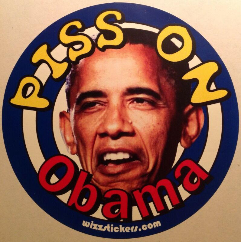 Piss on Obama Target Toilet Urinal Sticker (or bumper sticker) by wizzstickers