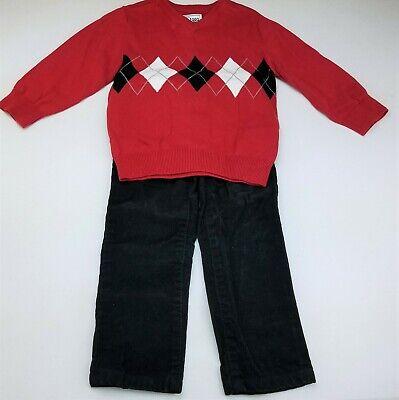 Boys Red Corduroy Pants (Boys GYMBOREE black corduroy pants CHILDREN'S PLACE red sweater 2T)