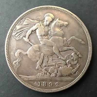 1892 CROWN - Queen Victoria silver coin (five shillings)