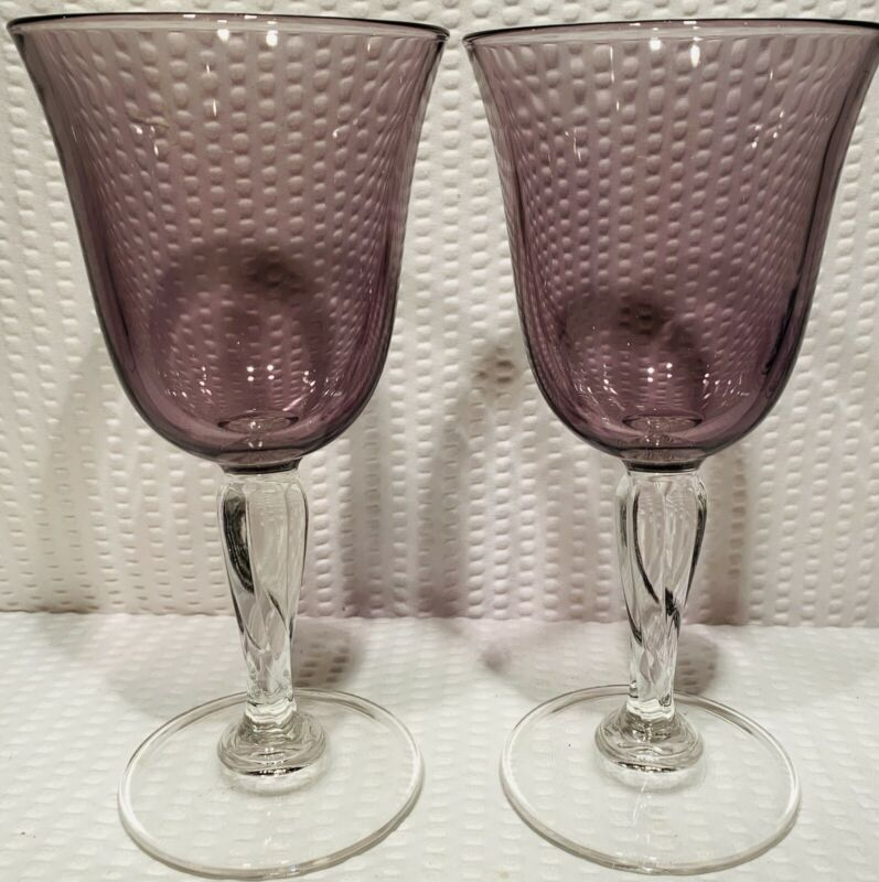 """Lot Of 2 ~ 7 1/2"""" Amethyst/Purple Wine Glass With Clear Twisted Base ~ Elegant"""
