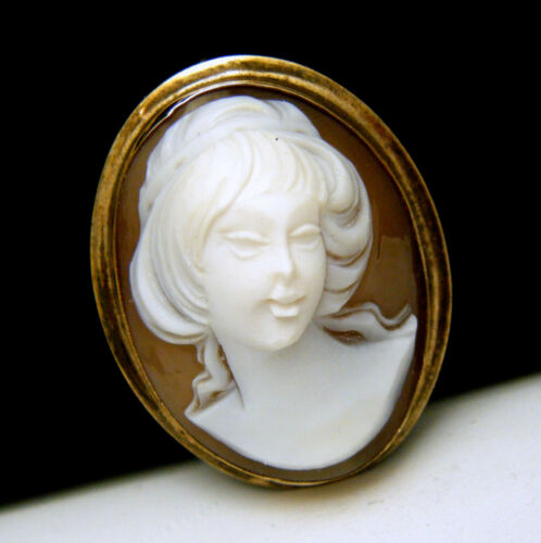 High Relief Carved Sardonyx Shell Cameo Brooch Pendant 12k Gold Filled Signed