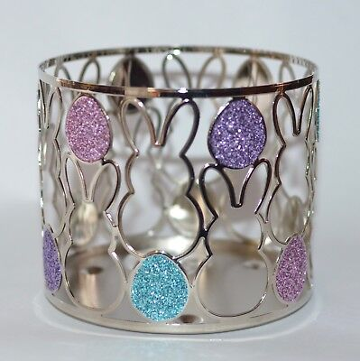 BATH BODY WORKS GLITTER EASTER BUNNY EGGS METAL LARGE 3 WICK CANDLE HOLDER 14.5