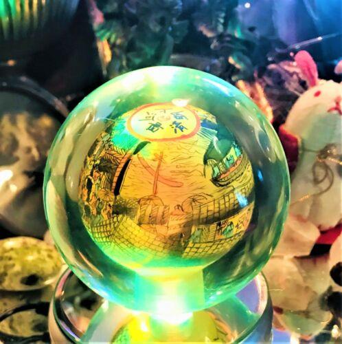 🧡Vintage Spirited Glass Inside Hand Painted Globe Spinner Eastern Day on River