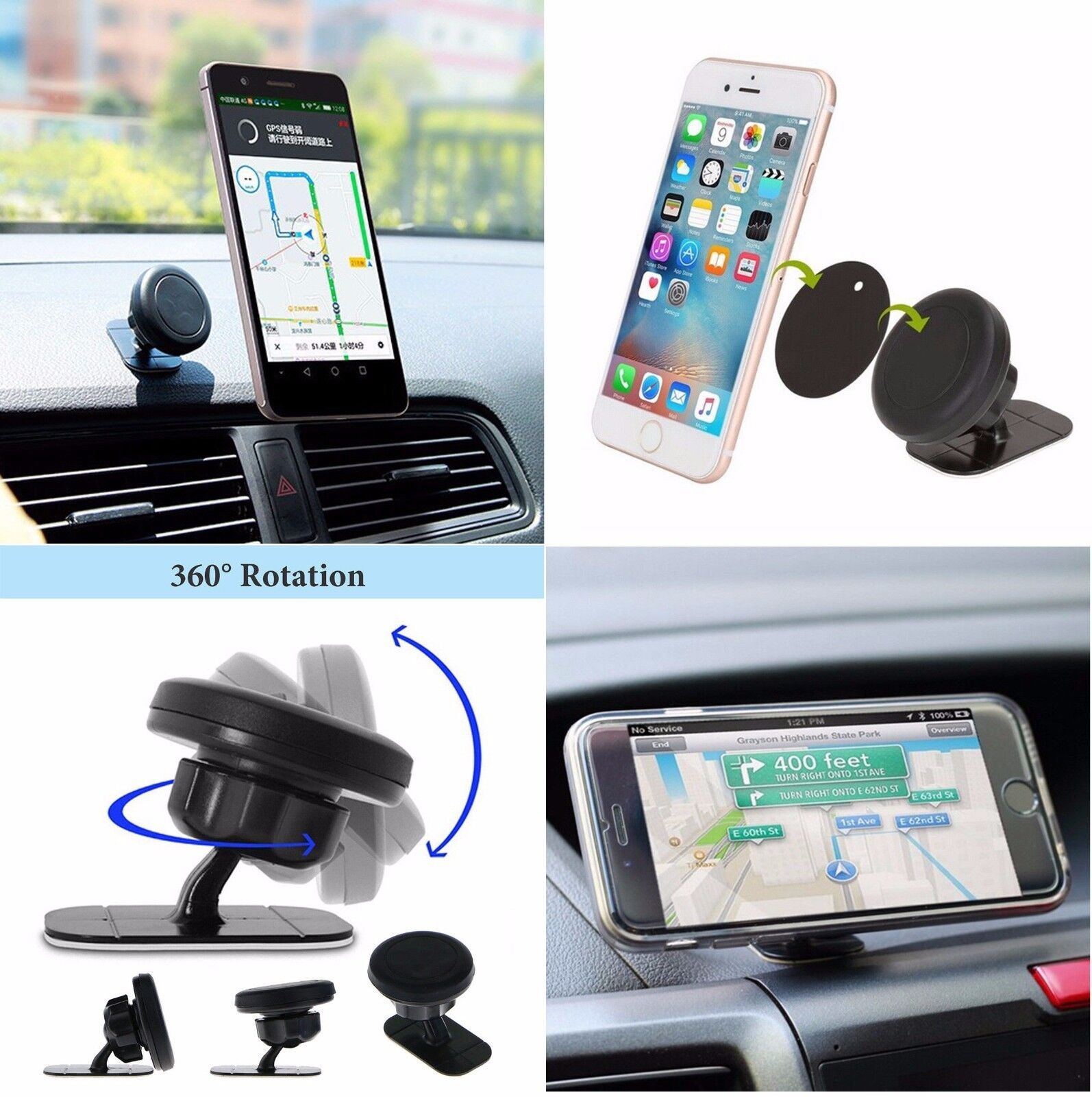 Magnetic Car Dashboard Phone Holder Mount Cradle for Smartphone Apple iPhone Samsung Galaxy LG Google Motorola