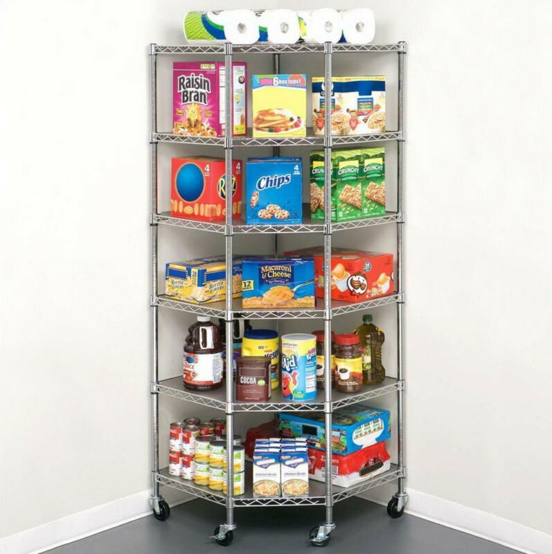 6-Tier Wire Shelf Shelving Adjustable Heavy Duty Rack Corner Large Storage Space