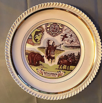 Vintage Wisconsin State Commemorative Plate - Sportsman's Paradise