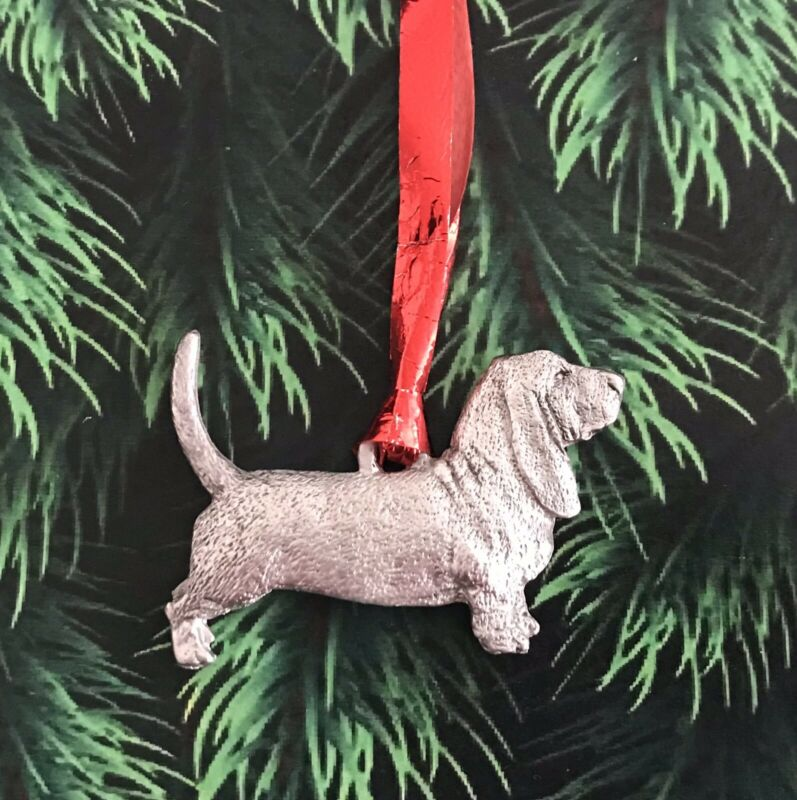 Pewter Basset Hound Dog Puppy Silver Metal Figurine Christmas Tree Ornament E