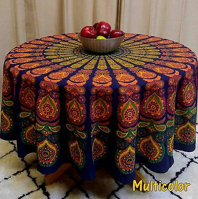 Peacock Tablecloth (Handmade Sanganeer Peacock Mandala 72