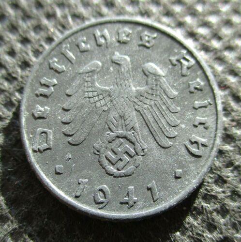 OLD COIN THIRD REICH GERMANY 5 REICHSPFENNIG 1941A BERLIN SWASTIKA WORLD WAR II