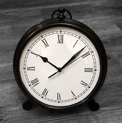 "Pottery Barn Large Pocket Watch Desk or Wall Clock with Easel Bronze 9.5""x8"""