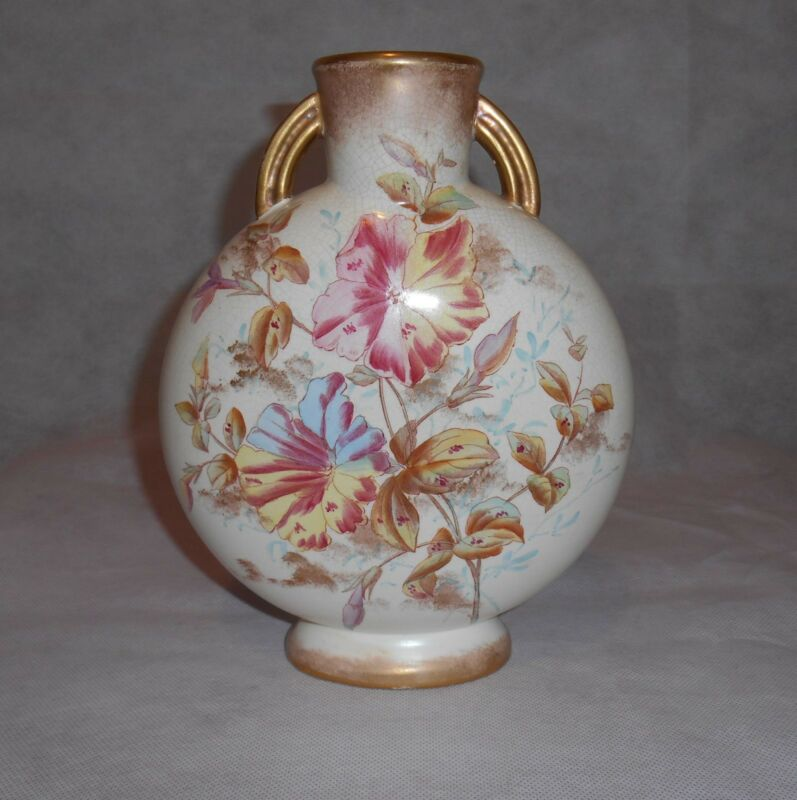 Antique Adderley Porcelain Pillow Floral Vase England