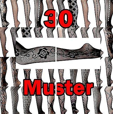 Damen Netz-Strumpfhose ÜBER 30 Muster TRENDY Gothic schwarz nero Emo XS/S/M/L ,