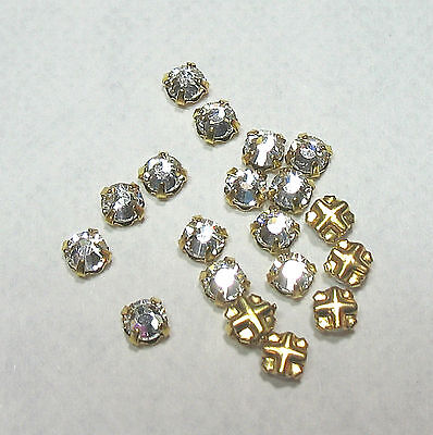 Rose Montees 3mm SS12 GP Gold Plated Clear Crystal 25 Beads Preciosa Czech
