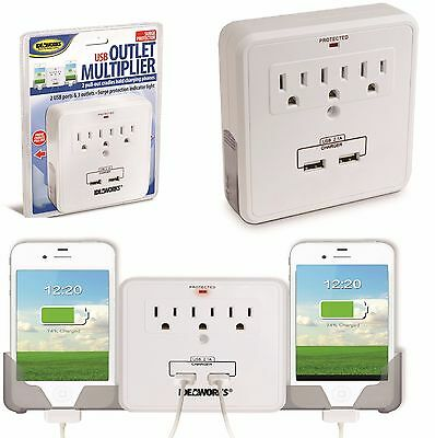 USB 3 Outlet Multiplier 2 Pull Out Cradles Phone Charger Pho