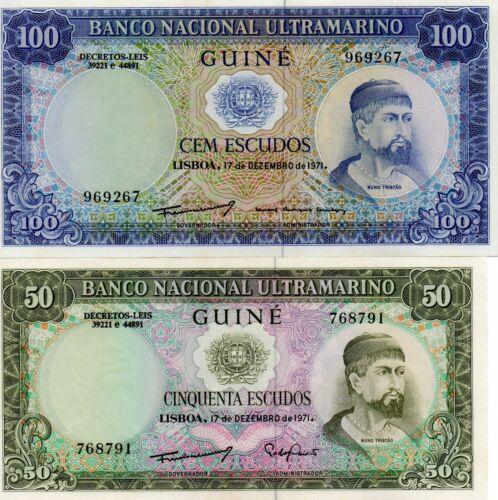 Portuguese GUINEA Africa pair 50 and 100 Escudos UNC 1971 p-44,45