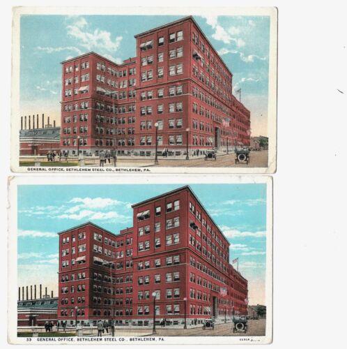 Postcards Bethlehem Steel PA General Office Building-Same image 2 diff Publisher