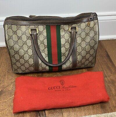 Vintage Gucci Ophidia Satchel Stripe Boston Brown Leather Hand Purse Dust Bag
