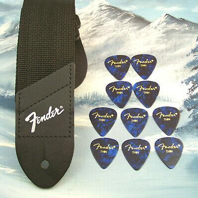 GUITAR STRAP ~ GENUINE FENDER ~ BLACK w/ SILVER LOGO  + 10 THIN BLUE 351 PICKS