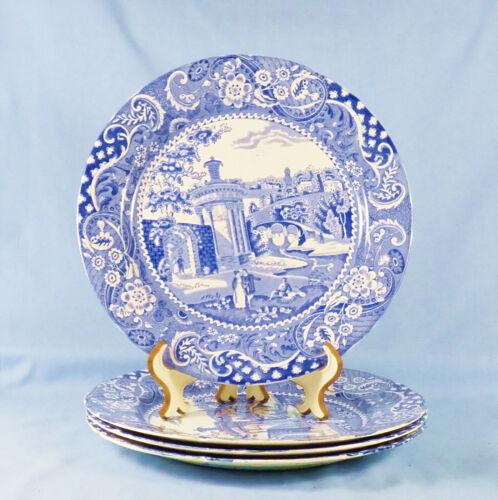 4 BLUE AND WHITE TRANSFERWARE DINNER PLATES 19TH C SCENE - W.R. MIDWINTER