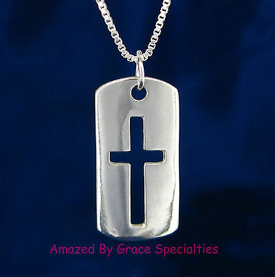 Dog Tag Style Open Cross Pendant & Chain in SOLID 925 Sterling Silver - NEW! 925 Sterling Silver Dog Tag