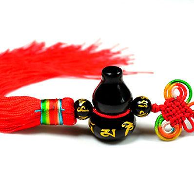Feng Shui Obsidian Om Mani Padme Hum Wu Lou Hu Lu Gourd charm hanging amulet