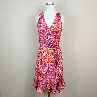 Lauren Ralph Lauren L Faux Wrap Ruffled Hem Dress Pink Floral Midi