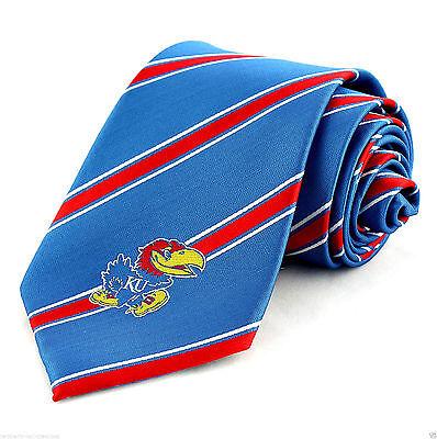 Kansas Jayhawks Men's Necktie College University Logo Striped Blue Neck Tie - Kansas Jayhawks Necktie