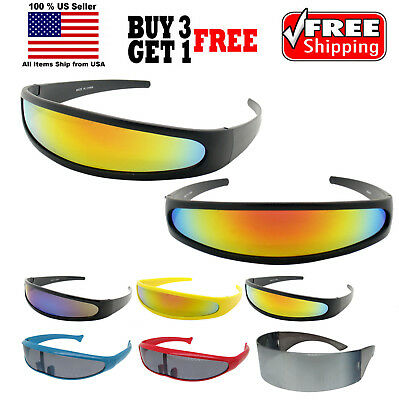 FUTURISTIC PARTY COSTUME CYCLOPS COLOR MIRRORED LENS VISOR - Party Sunglasses