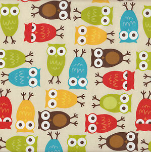 Owls Pul Laminated Waterproof Cotton Fabric Urban Zoologie Bird FQ or Metre NEW