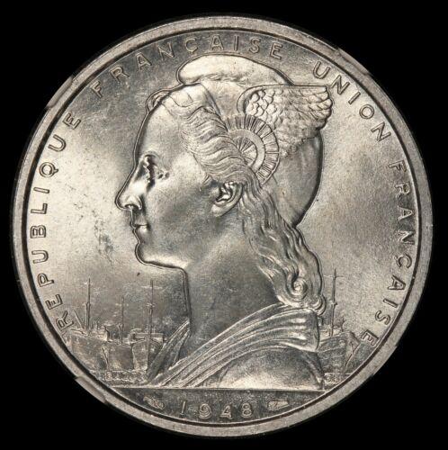 1948 French Somaliland 5 Francs Aluminum Coin - NGC MS 64 - KM# 6